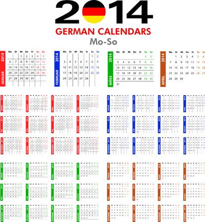 4 German calendar templates for 2014. Deutsch Kalender. Stock Vector - 23993126
