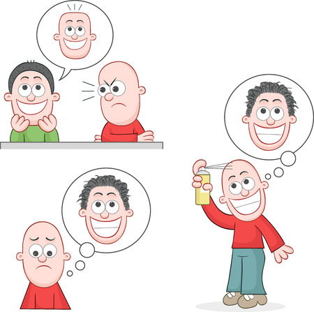 Cartoon bald man mad at friend joking he has flat bald head. Sad and dreaming of growing hair. Hopeful hair grower will give him a hairy head. Vector