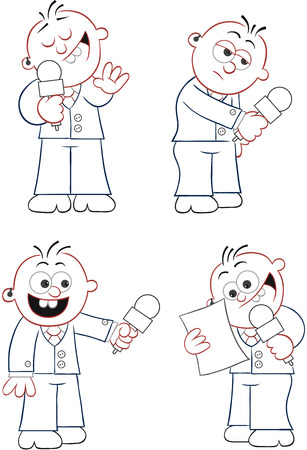 Vector cartoon reporter set.  Outline  Four cartoons  Vector