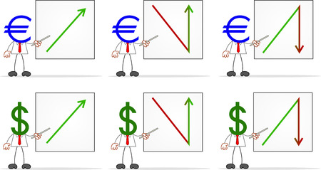 Cartoon dollar and euro money head businessmen with charts. Values up and down. Vector