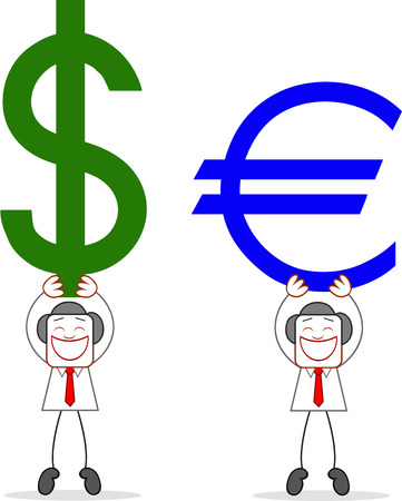 Cartoon businessmen happy and holding up dollar and euro. Vector