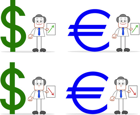 Cartoon businessmen holding dollar and euro up and down on papers. Vector