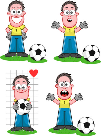 Cartoon goalkeeper set. Four cartoons. Happy, surprised, looking ball with heart shape and angry. Vector