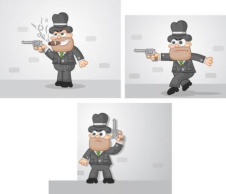 Vector cartoon mafia boss set. Outline. Three cartoons. Waiting, tiptoeing, smoking. Vector