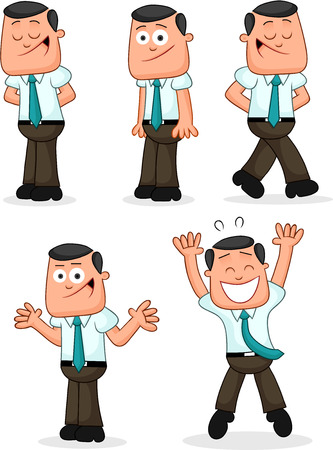 Cartoon funny businessman set. Five positive businessmen cartoons. Vector