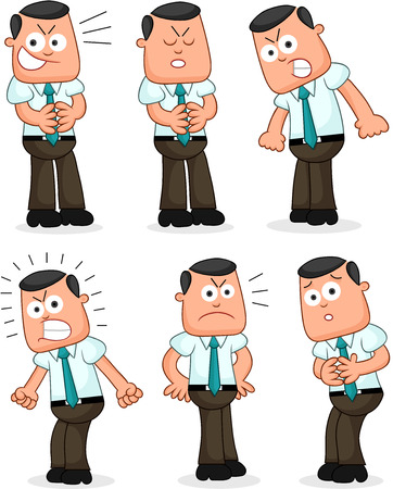 Cartoon funny businessman set. Six negative businessmen cartoons. Vector