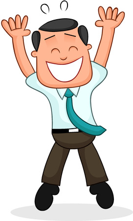 Cartoon funny businessman happy and jumping. Vector