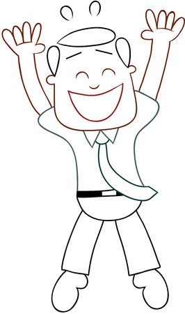 Cartoon funny businessman happy and jumping. Outline. Vector