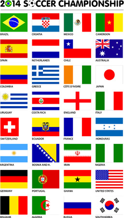 Flags for soccer championship 2014. Groups A to H. 8 groups. 32 nations. Original designs. Carefully designed. Vector