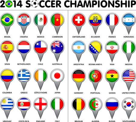 Flags for soccer championship 2014. Groups A to H. 8 groups. 32 nations. Pointer designs. Carefully designed. Vector
