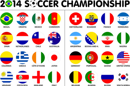 Flags for soccer championship 2014. Groups A to H. 8 groups. 32 nations. 2d circle designs. Carefully designed. Vector
