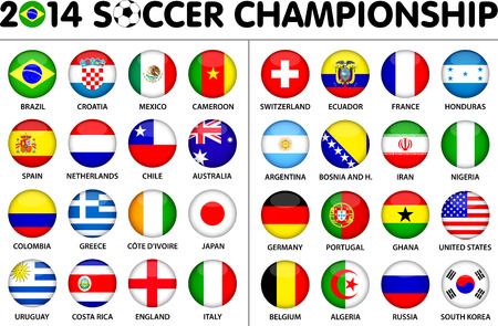 Flags for soccer championship 2014. Groups A to H. 8 groups. 32 nations. Circle designs. Carefully designed. Vector