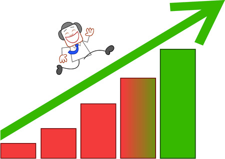 Happy businessman running to top of bar chart on white. Vector