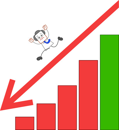 Unhappy businessman descending from bar chart with red arrow pointing down. Vector