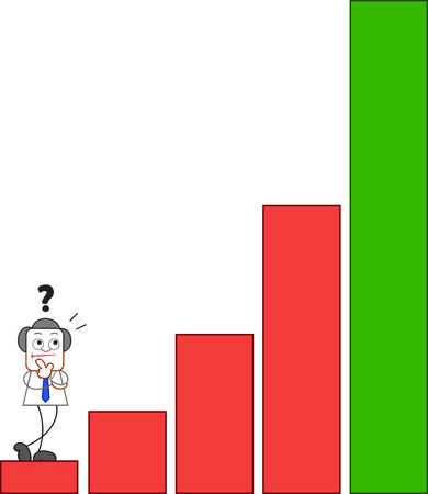 Confused businessman standing at bottom of steeply ascending bar chart. Vector