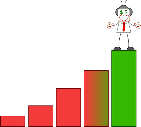 Dollar hungry businessman on top of bar chart on white. Vector