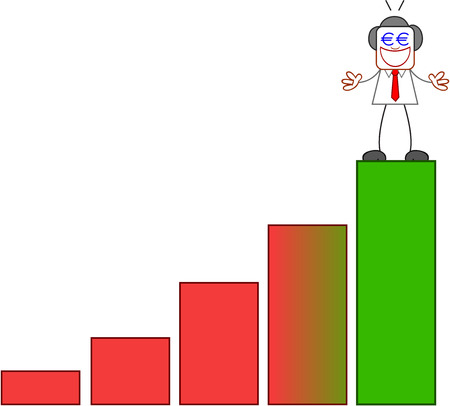 Euro hungry businessman on top of bar chart on white. Vector