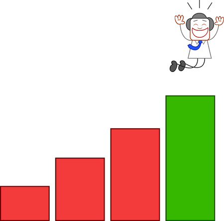 Happy businessman jumping with joy at top of bar chart on white. Vector