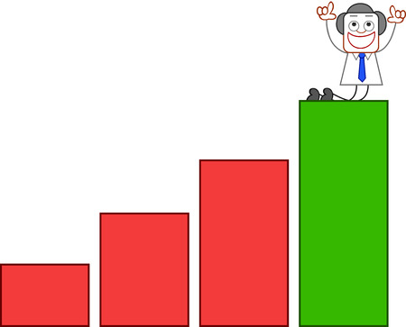 Happy businessman flashing victory sign at top of bar chart on white. Vector