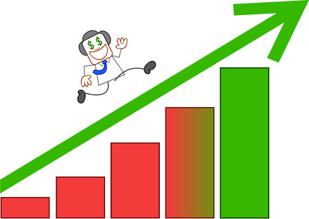 Dollar hungry businessman climbing up a green arrow pointing up. Vector