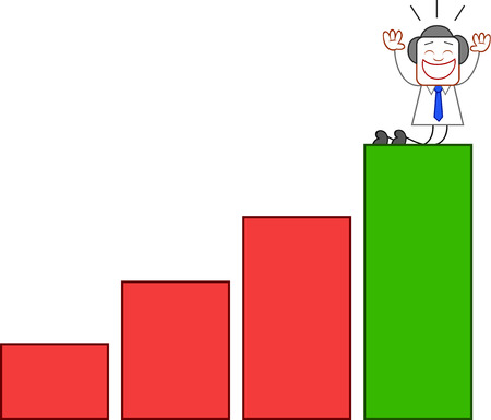 Overjoyed businessman kneeling with hands raised at top of the bar chart. Vector
