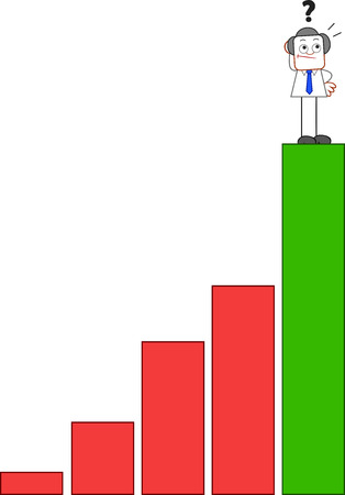 Confused businessman standing at the top of bar chart and looking up. Vector