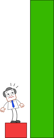 Overwhelmed businessman unsure of how to climb the green bar. Vector