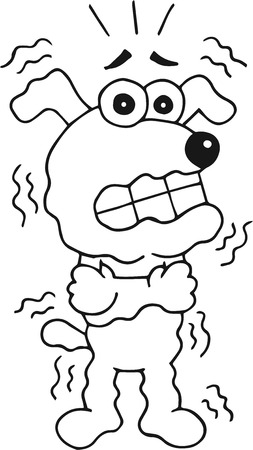 Retro cartoon funny dog is shivering. Outline. Vector