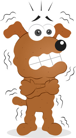 Vector cartoon funny dog is shivering. Vector