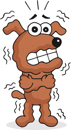 Retro cartoon funny dog is shivering. Vector