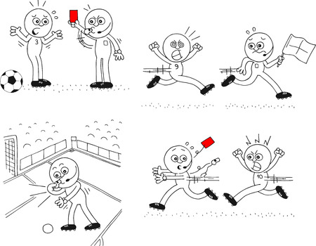 Cartoon sketch referee and soccer players. Four cartoons. Red card, running after referee and giving penalty. Stock Vector - 24473384