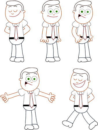 Cartoon funny businessman set. Five positive businessmen cartoons. Outline. Vector
