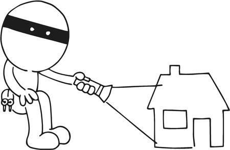 Cartoon sketch thief flashing light on house. Vector