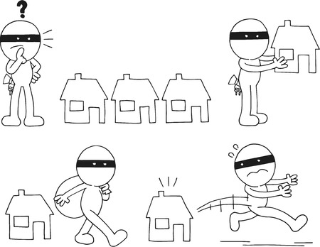 Cartoon sketch thief set. Four cartoons. Vector