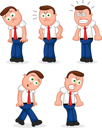 Cartoon funny businessman set. Five negative businessmen cartoons. Vector