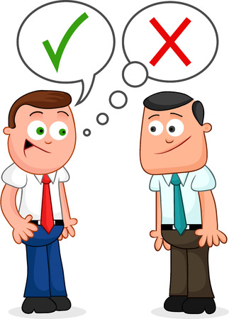 Two cartoon businessmen standing together with one of them telling a lie.