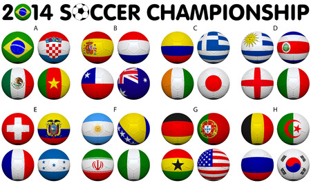 Soccer Championship 2014. Brazil. Groups A to H. 32 nation flags. 3d soccer ball design. Stock Photo