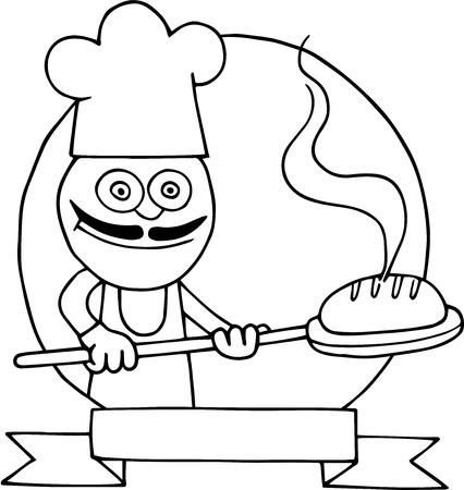 Hand drawn cartoon of baker holding bread on peel inside circle and logo. Illustration