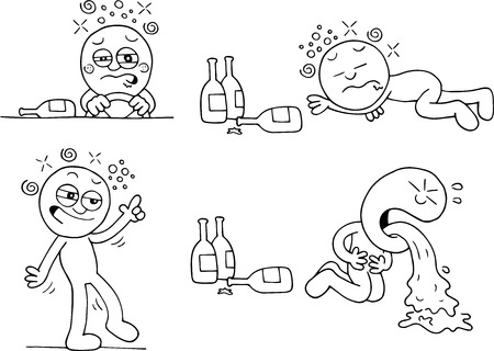 Hand drawn cartoon of drunk man driving lying down walking and throwing up set of four. Vector