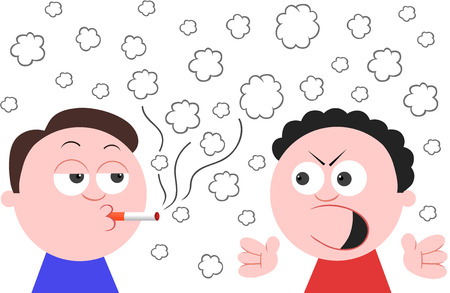 Vector cartoon man smoking a cigarette while another man angry and shouting. Stock Vector - 24898230