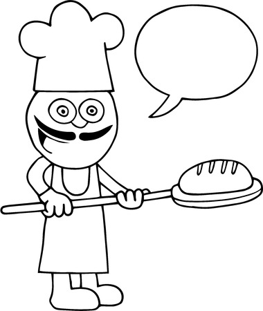 Hand drawn cartoon of baker holding bread on peel with blank speech bubble. Vector