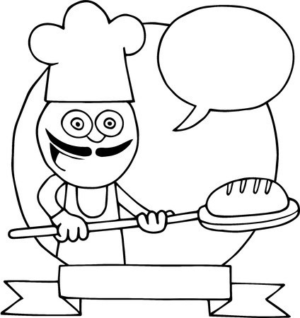 Hand drawn cartoon of baker holding bread on peel inside circle and logo with blank speech bubble. Vector