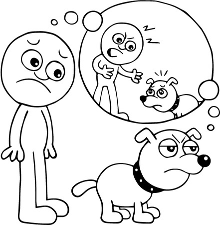 Hand drawn cartoon of dog angry over scolding by master. Vector