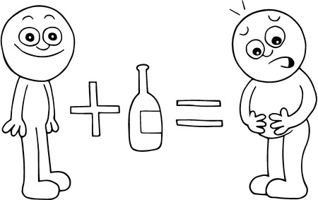 Hand drawn cartoon of thin man plus alcohol equals beer belly. Vector