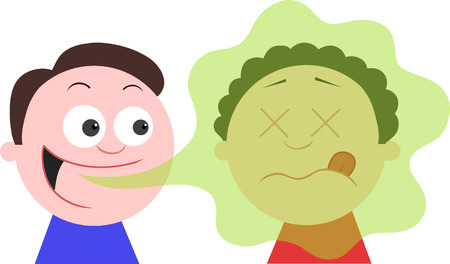 Vector cartoon man with bad breath talking to a man and die or pass out. Illustration