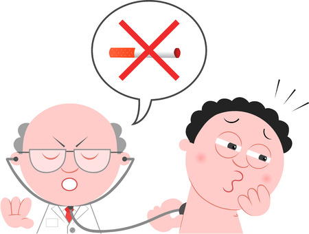 Hand drawn cartoon of doctor checking up patient forbidding him to smoke. Vector