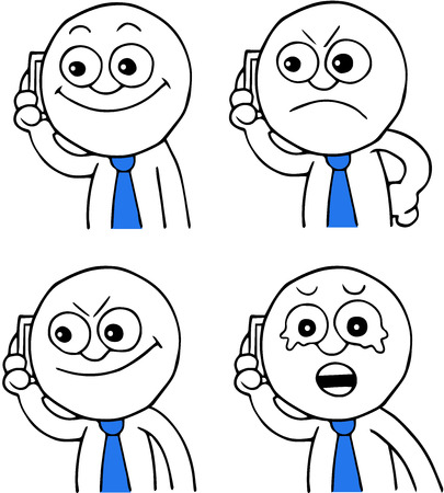 Hand drawn cartoon businessman calling on phone set of four. Happy and smiling, angry, sneaky, sad and crying. Vector