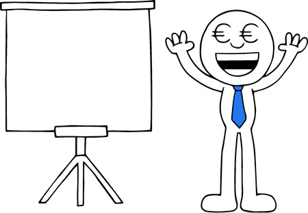 Hand drawn cartoon euro money eyes businessman arms raised up beside standing white board. Vector