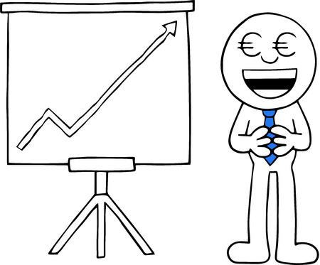 Hand drawn cartoon euro money eyes businessman hands together beside standing sales chart with arrow going up symbolizing profit. Vector