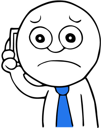 Hand drawn cartoon businessman calling on phone and sad. Vector